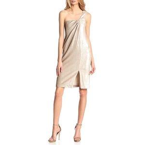 Halston Heritage Twist Drape Sequin Dress